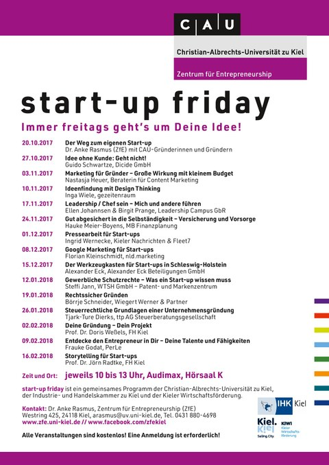 start-up friday Programm WS 2017/18